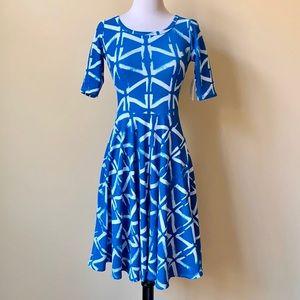 Lularoe Nicole Blue White Pattern Dress